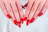 Close-up Broken Fingernail Red Long Nails Manicure Broken Nail In Studio Salon poster