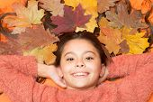 With Smile On Her Lips. Happy Smile Of Beauty Model. Small Child With Cute Smile. Little Girl In Aut poster