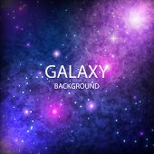 Space Background With Stardust And Shining Stars. Realistic Colorful Cosmos With Nebula . Blue Galax poster