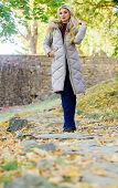 Oversized Jacket Trend. Puffer Jacket Casual And Comfortable Style. Woman Wear Warm Grey Jacket. Jac poster