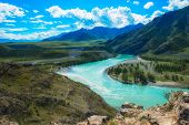 The confluence of two rivers, Katun and Chuya, the famous tourist spot in the Altai mountains, Siber poster