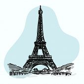 Hand Sketch Illustration Of World Famous Landmark Collection Of Eiffel Tower At Paris In France poster