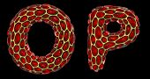 Realistic 3D letters set O, P made of gold shining metal letters. Collection of gold shining metalli poster