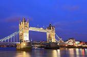 London River Thames and Tower Bridge International Landmark of England United Kingdom at Dusk poster