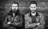 Brutality Confidence And Masculinity Interconnection. Men Brutal Bearded Hipster. Exude Masculinity. poster
