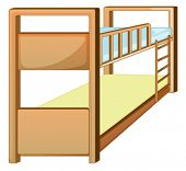 stock photo of bunk-bed  - Illustration of an isolated bunk bed - JPG