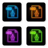 Glowing Neon Eps File Document. Download Eps Button Icon Isolated On White Background. Eps File Symb poster
