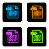 Glowing Neon Png File Document. Download Png Button Icon Isolated On White Background. Png File Symb poster