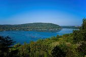 Susquehanna River on a sunny fall day. It is a major river in the northeastern US. At 444 miles long poster