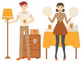 People Selling Goods, Garage Sale, Man Standing With Lamp And Nightstand, Woman Holding Plate. Selli poster
