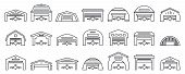 Airport Hangar Icons Set. Outline Set Of Airport Hangar Vector Icons For Web Design Isolated On Whit poster