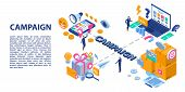 Campaign Adword Concept Banner. Isometric Illustration Of Campaign Adword Vector Concept Banner For  poster