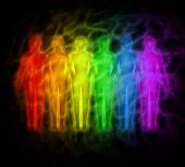 image of aura  - Picture of people with rainbow silhouettes of human aura - JPG