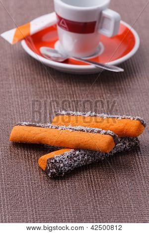 Coffee And Orange Sticks With Coconut Zest