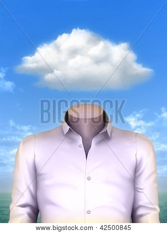 Man whose head is replace by a white puffy cloud. Digital illustration.