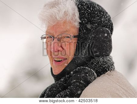 Older woman outdoors in winter