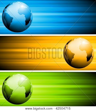 Colourful tech banners with globe. Vector design eps 10