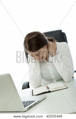 Young Brunette Business Woman Has Neck Pain