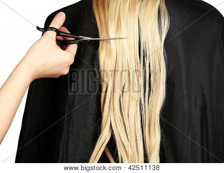 Haircut blond hair on white background