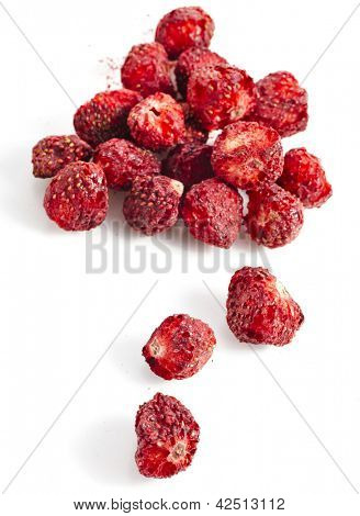 dry strawberry close up isolated
