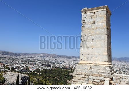 View Of Ancient Agrippa Tower Of The Acropolis Propylae