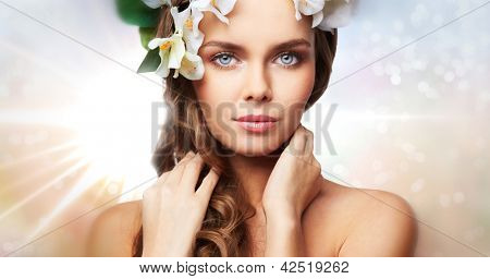 Creative image of a young woman expressing purity and charm