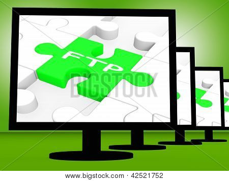 FTP em monitores mostrando a transferência de arquivos