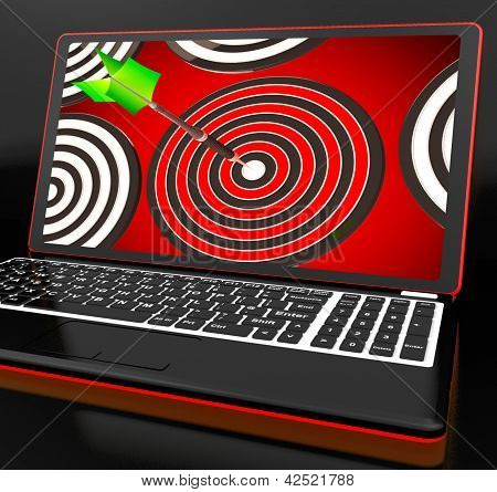Target Hit On Laptop Shows Accuracy