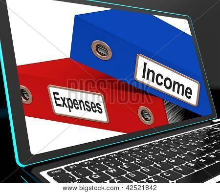 Income And Expenses Files On Laptop Shows Budgeting