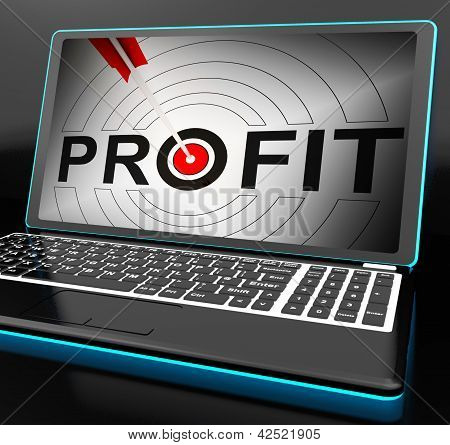 Profit On Laptop Showing Expected Incomes