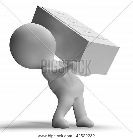 Filing Cabinet Carried By 3D Character Showing Organization