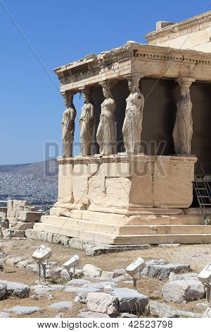 Sculpture Of Erechtheum Ancient Greek Temple