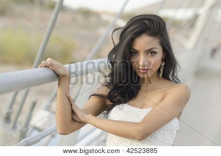 Beautiful exotic mixed race young woman with long hair
