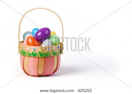 Pink Easter Basket With Colorful Eggs 3