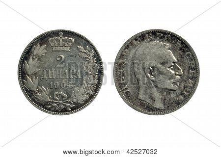 Serbian 2 dinars coin 1904