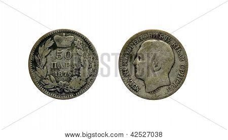 Serbian 50 para coin 1879