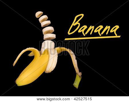 Banana Isolated Over Black - Peeled And Sliced
