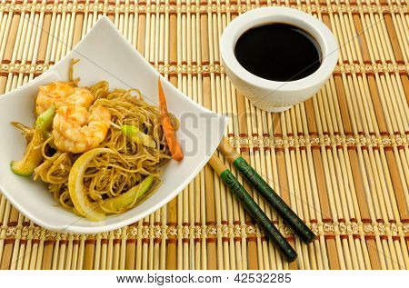 Noodles with prawn, traditional chinese plate