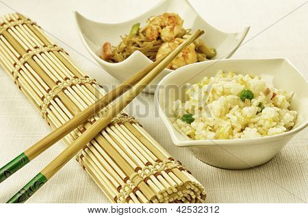 Chinese food dishes, cantonese rice and shrimps noodles