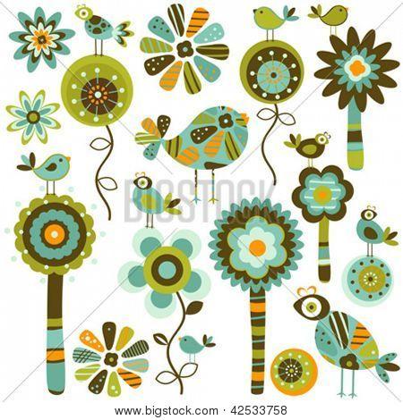 Laune Blumen und Vögel