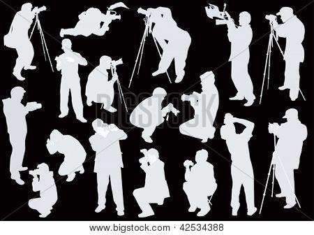 Ilustración con conjunto de fotógrafos aisladas sobre fondo negro