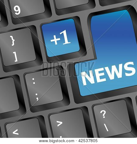 News Written On Keyboard In Blue