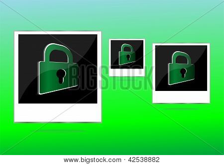 Set Of Empty Photos And Padlock On Abstract Green Background