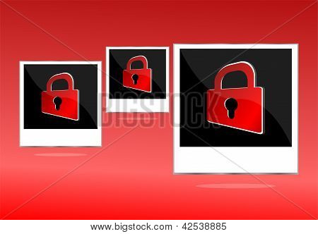 Set Of Empty Photos With Padlock On Red Background