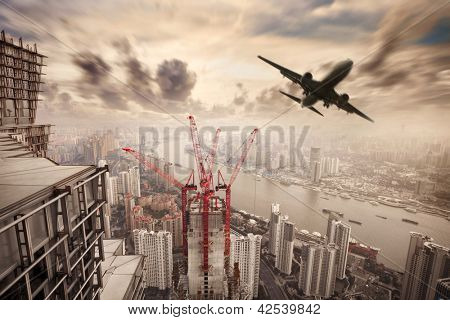cityscape of shanghai with flight