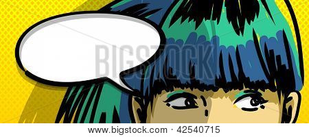 pensive girl comic books style vector drawing, blank speech bubble