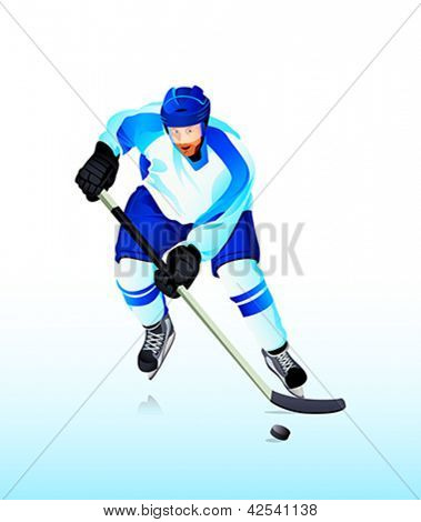Colorful hockey player attack on blue ice