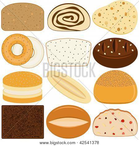 Vector iconos de diferentes tipos de pan
