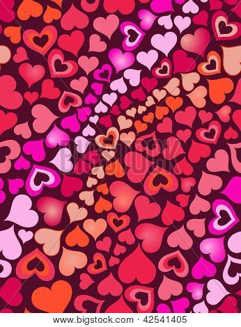 red hot hearts seamless background