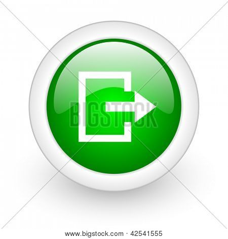 exit green circle glossy web icon on white background